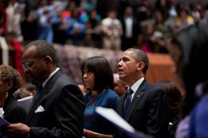 President Barack Obama and First Lady Michelle Obama attend a church service at Metropolitan African Methodist Episcopal Church in Washington, D.C., on Inauguration Day, Sunday, Jan. 20, 2013. (Official White House Photo by Pete Souza)