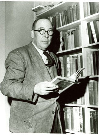 C.S. Lewis at bookshelf (circa 1960). Image used by permission of The Marion E. Wade Center, Wheaton College, Wheaton, IL Note to editors: ***This photo is to only be used for this article, and the digital file of the image should be deleted after it is used, as stated in the signed user agreement submitted by Sally Morrow. It is not to be made available to subscribers.