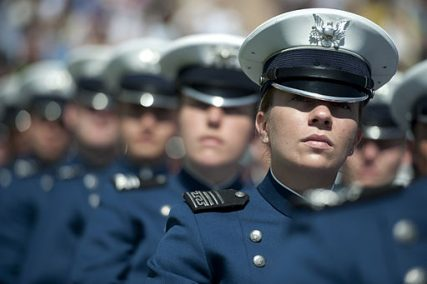 U.S. Air Force Academy cadets listen as Chairman of the Joint Chiefs of Staff Adm. Mike Mullen, U.S. Navy, addresses the school's graduates during commencement ceremonies at Falcon Stadium in Colorado Springs, Colo., on May 26, 2010.