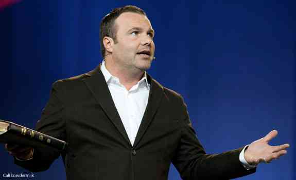 Pastor Mark Driscoll attacks Christian pacifism the same week he calls for Christian unity. (Photo credit: Cali Lowdermilk)