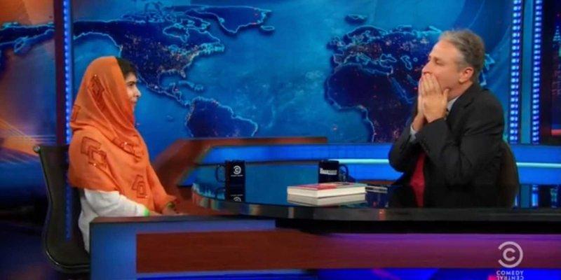 Malala meeting with Jon Stewart