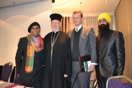 From left: Bashr Qraishy, Father Aethelwine Richards, Paul Herzog Von Oldenburg, and Jasvir Singh at the Renaissance Hotel in Brussels, Belgium, on Oct. 16, 2013.