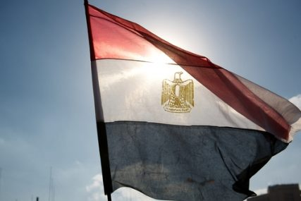 The Egyptian flag waving in Tahrir square in Cairo, Egypt (Jan. 2011).