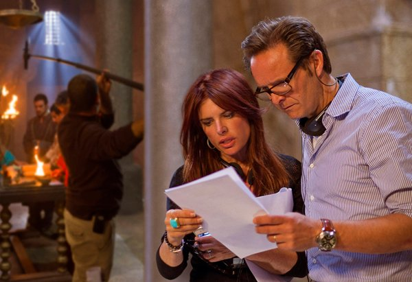 """Roma Downey and Mark Burnett with the cast and crew while filming """"Son of God."""" Photo courtesy Lightworkers Media"""