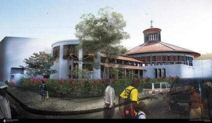A proposed sketch of a rebuilt Holy Trinity Cathedral in Haiti. Photo courtesy The Espiscopal Church