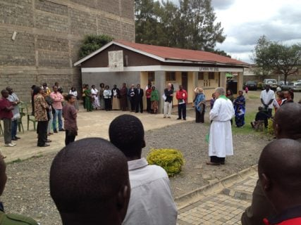 A group prayer at the International Lutheran Church of Nairobi, as Christians and Muslims fear escalating religious violence. RNS photo by Ken Chitwood