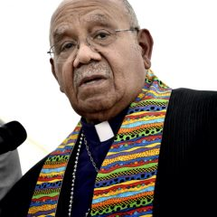 Bishop Melvin Talbert joined 13 other United Methodist bishops at a gathering on May 4 outside the 2012 United Methodist General Conference in Tampa, Florida, where they showed their support for clergy in the denomination who choose to officiate at religious weddings of same-sex couples. Doing so is a violation of church rules, but Talbert said he preferred Biblical obedience even if it meant ecclesiasical disobedience. Photo by Paul Jeffrey/courteys UMNS