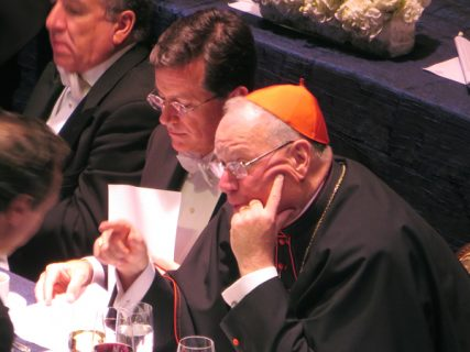 New York Cardinal Timothy Dolan (right) and Comedy Central's Stephen Colbert together again for the third time at the annual Al Smith dinner on Thursday night (Oct. 18) at the Waldorf Astoria in New York. RNS photo by David Gibson