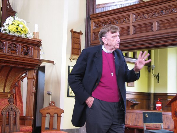 John Shelby Spong speaks in a church in England. Religion News Service photo by David Gibson