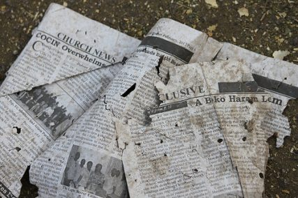 Debris from outside Nigeria's COCIN church, which was bombed in February 2012.