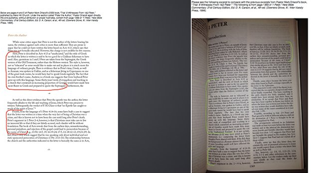 Mefferd has provided side-by-side photocopied comparisons of the material on her website.
