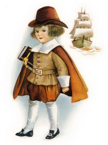 A picture of a young boy in a Puritan outfit carrying a book