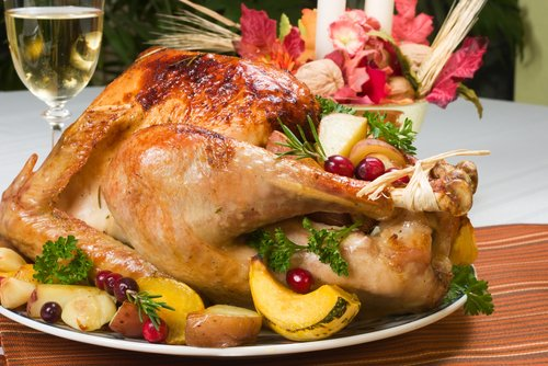 Thanksgiving turkey on a holiday table. Photo via Shutterstock