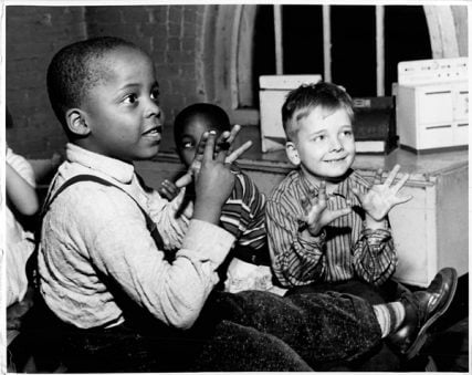 (1961) Integration in schools (location/caption information unknown). Religion News Service file photo by Bruce Bailey *This day in history: 1960 - Riot due to school integration in New Orleans