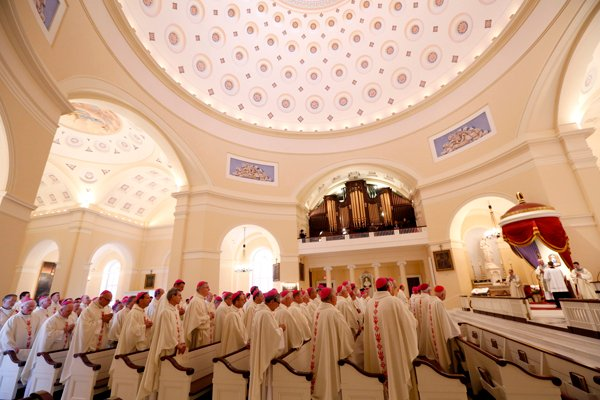 Members of the U.S. Conference of Catholic Bishops gather for Mass at the Basilica of the National Shrine of the Assumption on Nov. 11, 2013, at the start of their annual fall meeting in Baltimore. Photo by Nancy Phelan Wiechec, courtesy Catholic News Servicevice