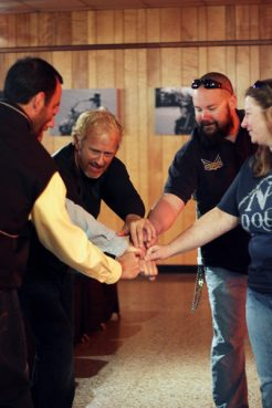 Doc, Rev Kev, Glademere, Pastor Greg, and Dakota celebrating at the Freedom Biker Church in Conover, N.C. Photo Credit: T Group Productions, courtesy National Geographic Channel
