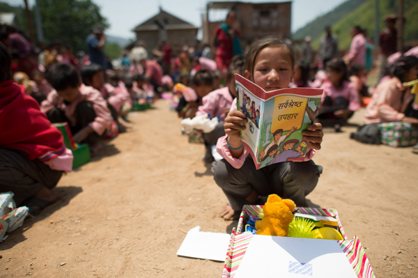 A child receives a gift from Operation Christmas Child. Photo courtesy Samaritan's Purse