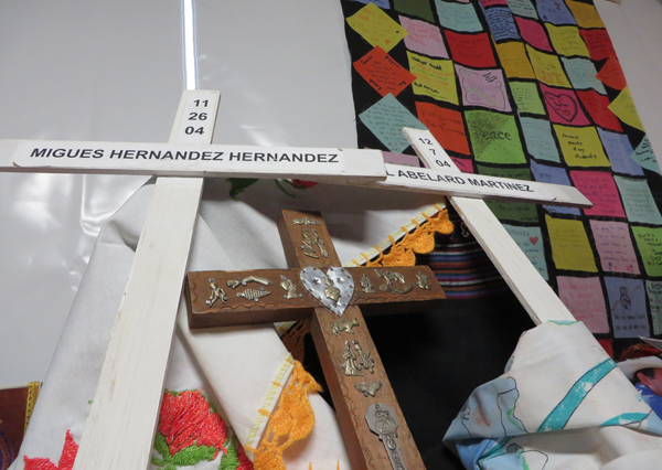 An altar is set up in honor of immigrants, including those who have died on their journey to the United States, in a tent outside the Capitol where men and women will fast and pray for immigration reform. RNS photo by Katherine Burgess