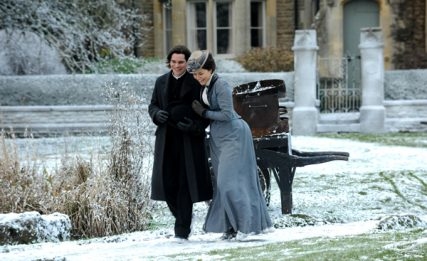 """Hans Matheson as Rev. David Richmond and Samantha Barks as Emily Barstow in """"The Christmas Candle."""" Photo courtesy of EchoLight Studios"""