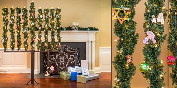 """A """"Menorah Tree"""", seen here with lights and ornaments, was invented by  Michael Patchen. Photo courtesy Michael Patchen - Move Over Hanukkah Bush, Here Comes The Menorah Tree - Religion News"""