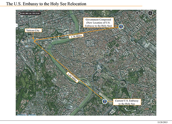 """""""The U.S. Embassy to the Holy See Relocation"""" map courtesy U.S. Department of State."""