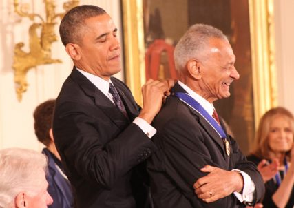 President Obama places the Presidential Medal of Freedom on the Rev. C.T. Vivian in the East Room of the White House on Wednesday (Nov. 20). RNS photo by Adelle M. Banks