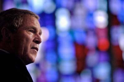 Former president George W. Bush, shown here at January 2004,  an evangelical Christian, has caused an uproar among Jews for his speech planned for Thursday to Messianic Jews. RNS file photo/John McCusker.