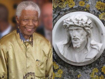 Nelson Mandela photo, left, courtesy South Africa The Good News / www.sagoodnews.co.za, via Wikimedia Commons. Jesus statue photo, right, courtesy of Onderwijsgek, via Wikimedia Commons