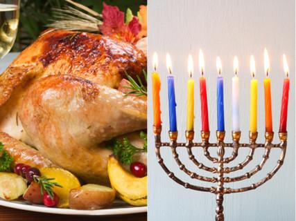 Left, Thanksgiving turkey, right, a Hanukkah menorah.