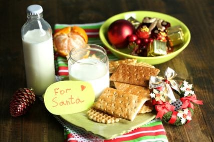 Cookies and milk left for Santa.
