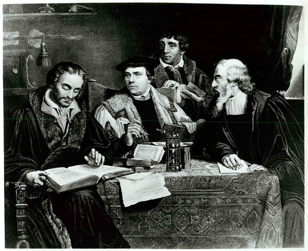 Reformer Martin Luther (center) works closely with several colleagues in translating the first German-language edition of the Bible. The edition appeared in 1532, 15 years after Luther's challenge to the practice of selling indulgences led to the Protestant Reformation. At right are Johann Burgenhagen (standing), a pastor, and Caspar Cruciger, who edited many of Luther's writings. Engraving by J.C. Buttre. Religion News Service file photo