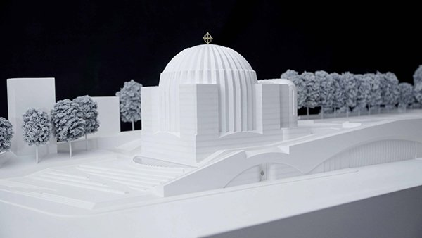 An exhibit focusing on the church designs of noted Spanish architect Santiago Calatrava went on display at the Vatican this week, with a large model — shown to the public for the first time — of the soon-to-be rebuilt St. Nicholas Greek Orthodox Church in New York, which was destroyed in the 9/11 attacks. Photo courtesy Santiago Calatrava