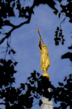 An Angel Moroni sculpture sits atop the steeple of the Brigham City, Utah Mormon temple. Photo courtesy The Church of Jesus Christ of Latter-day Saints