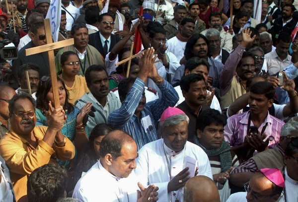 (RNS) Protestors gathered in New Delhi to demand equal affirmative action for Christian and Muslim Dalits, or
