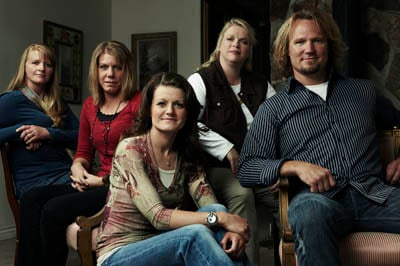 """Kody Brown, right, stars in TLC's """"Sister Wives"""" with wives (left to right) Christine, Meri, Robyn and Janelle."""