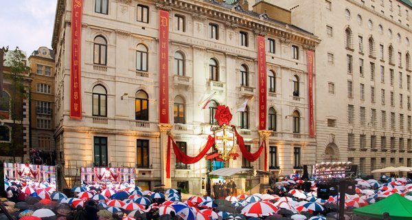 (RNS) Crowds celebrate the 2006 opening of the United Kingdom's Church of Scientology in London.