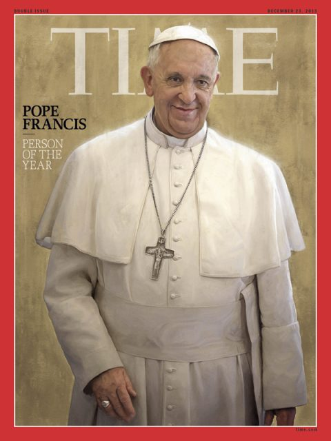 Pope Francis was named Time magazine's Person of the Year for 2013. Photo courtesy Time magazine