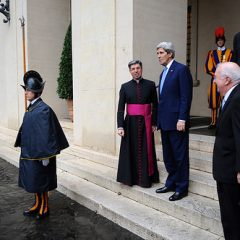 U.S. Secretary of State John Kerry bids farewell to Vatican Chief of Protocol Monsignor Jose Bettancourt after he gave U.S. officials a tour of the Vatican and Apostolic Palace in Vatican City during a visit to Rome, Italy, on Tuesday (January 14). Photo courtesy U.S. Department of State