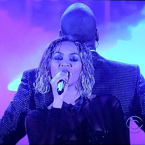 "Beyoncé and Jay Z perform ""Drunk in Love"" at last night's Grammys - Photo by Mixxula via Flickr (http://bit.ly/1esUjP6)"