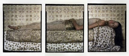 "A photograph from the exhibit ""She Who Tells a Story""  titled ""Bullets Revisited #3"", 2012, Lalla Essaydi. Triptych, three chromogenic prints on aluminum *Reproduced with permission. *Courtesy of Miller Yezerski Gallery Boston; Edwynn Houk Gallery New York *Courtesy Museum of Fine Arts, Boston"