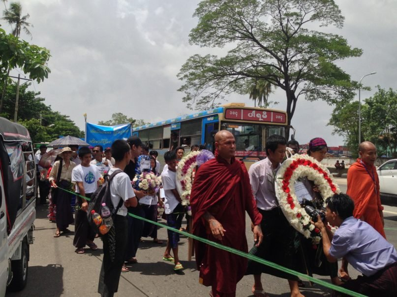 Monks and protestors in Burma (2013).