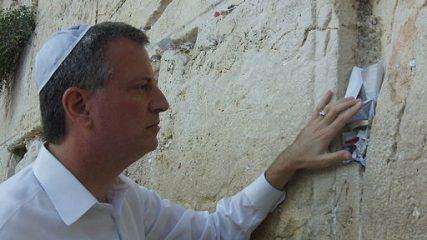 Bill de Blasio leaving a prayer at the Western Wall in Jerusalem in 2011.
