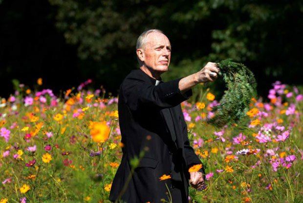 Bishop Howard J. Hubbard, Bishop of Albany, blesses Kateri Meadow Natural Burial Preserve. Photo courtesy of Albany Diocesan Cemeteries