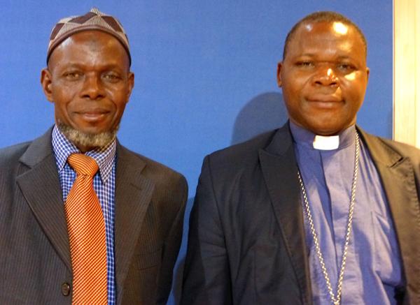Imam Kobine Layama, president of CAR's Islamic community, left,  and Monsignor Dieudonne Nzapalainga, archbishop of Bangui. Photo courtesy of Elizabeth Bryant