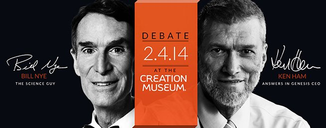 Promotion photo for the debate between Bill Nye and Ken Ham.