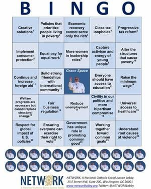 NETWORK's State of the Union bingo card