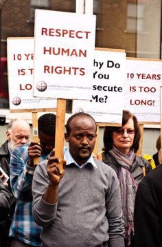 Participants at the Eritrea vigil in London on May 17, 2010 protesting against the Eritrean government religious policies and denouncing 10 years of brutal clampdown on Christians.
