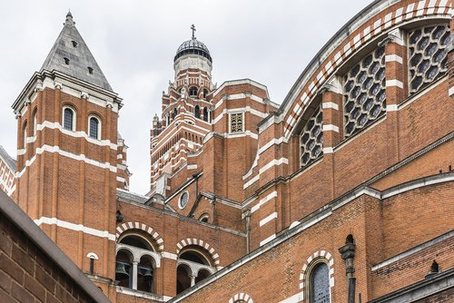 View of Westminster Cathedral (1895 - 1903) - mother church of Catholic community in England and Wales and Metropolitan Church and Cathedral of Archbishop of Westminster.