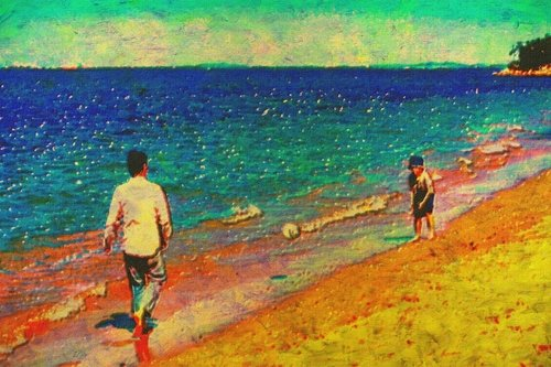Painting of a father and son playing soccer on the beach.