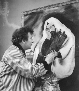 Marc Chagall with Solitude, 1933.  Private collection.  © Archives Marc et Ida Chagall, Paris. Photo courtesy of The Jewish Museum